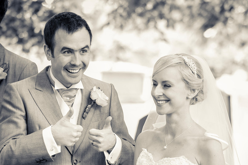 Groom gives thumbs up