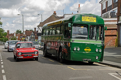 RF26 at Warlingham Green being passed by a 1972 Ford Escort