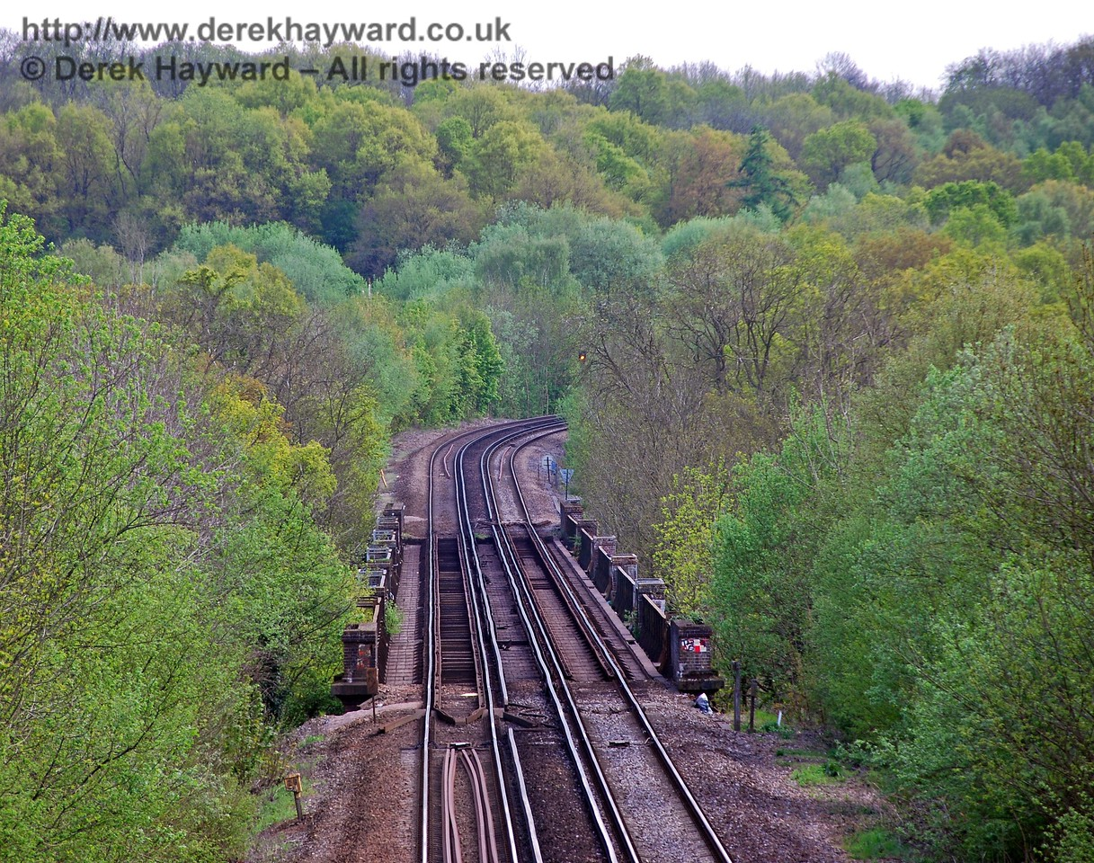 Using a longer lens this is the top of Cooks Pond Viaduct, looking south towards East Grinstead.  The lens makes the length of the viaduct appear much shorter than is actually the case. 03.05.2008
