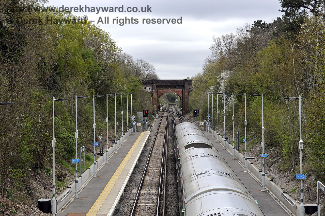 Looking north from the footbridge at East Grinstead Station, Network Rail.  The platforms have been extended to accommodate 12 coach trains.  05.04.2014  8860
