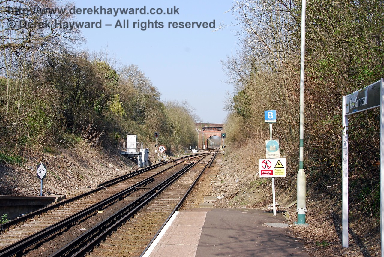The same view north from East Grinstead station on 02.04.2007.  The previous running in board has been replaced and the Bluebell Railway is no longer mentioned on the more modern Southern signage.
