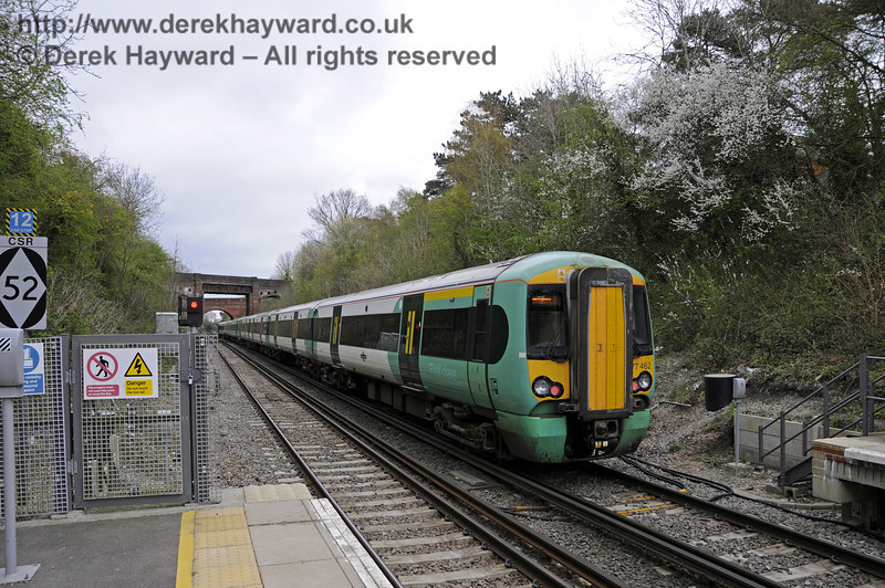 Looking  north as 377462 departs from Platform 2, en route to London.  East Grinstead Station, Network Rail.  05.04.2014  10158
