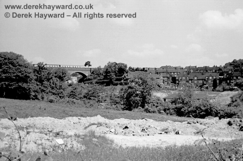 Coaching stock stored on Hill Place (or Imberhorne) Viaduct at East Grinstead on 7 June 1969. Eric Kemp retains all rights to this image.