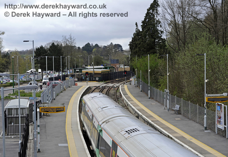 Looking south from the footbridge towards the Bluebell Railway station.  East Grinstead Station, Network Rail.  05.04.2014  8842