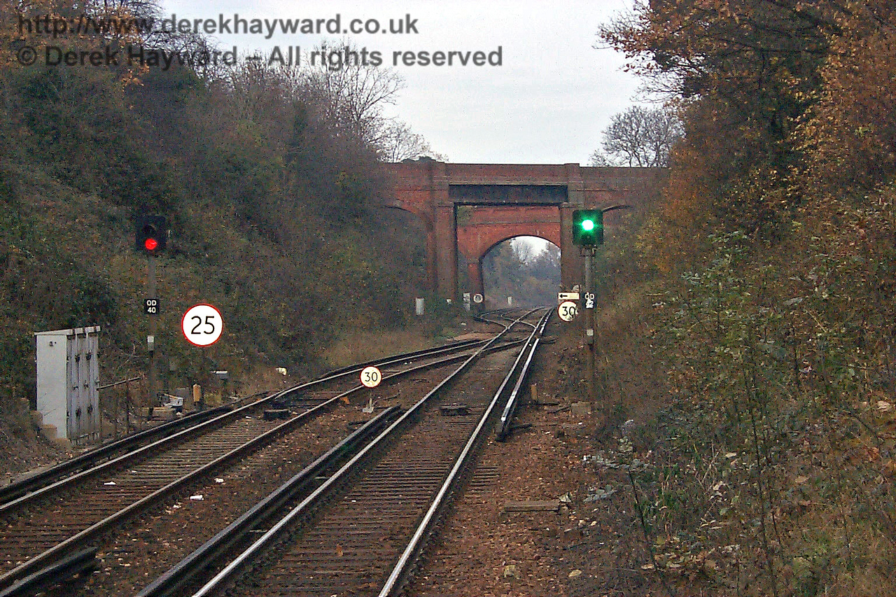 In 1998, the same view north from Platform 2 at East Grinstead, showing the two bridges north of the station. 22.11.1998