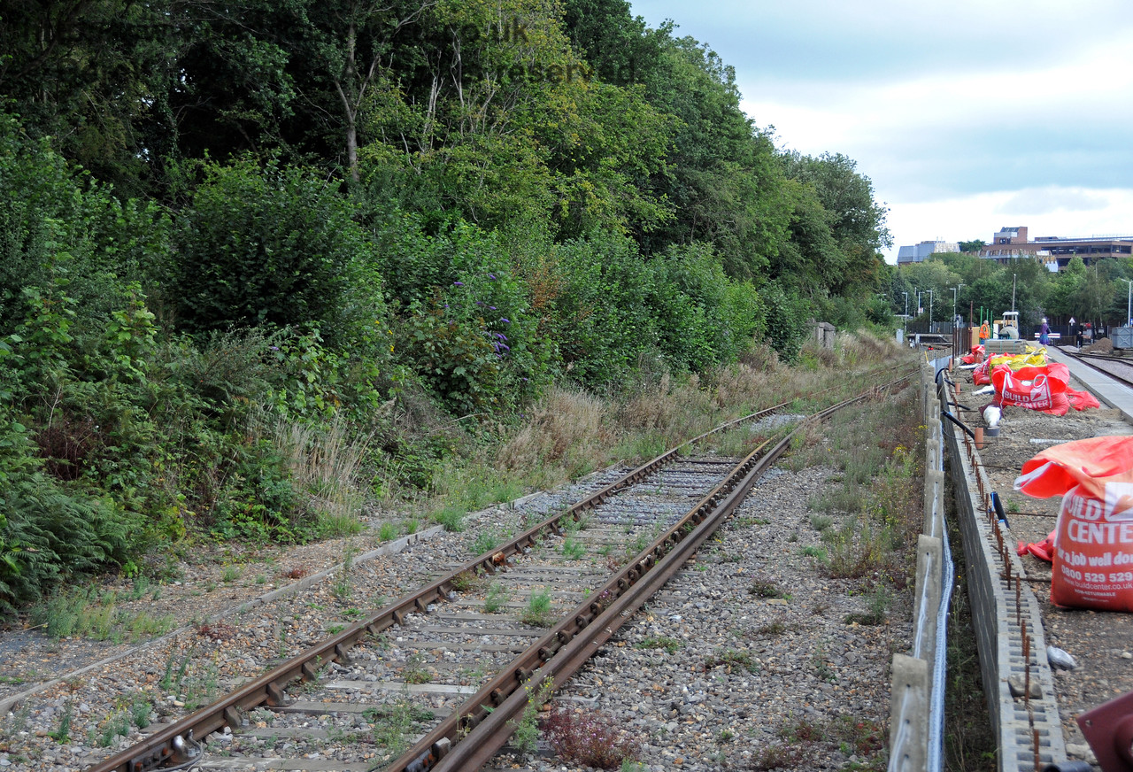 Looking north up the Network Rail headshunt during the construction of the Bluebell Railway platform at East Grinstead.  22.08.2010  4278