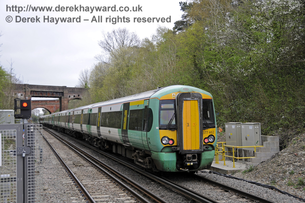 Looking  north as 377462 departs from Platform 2, en route to London.  East Grinstead Station, Network Rail.  05.04.2014  10159