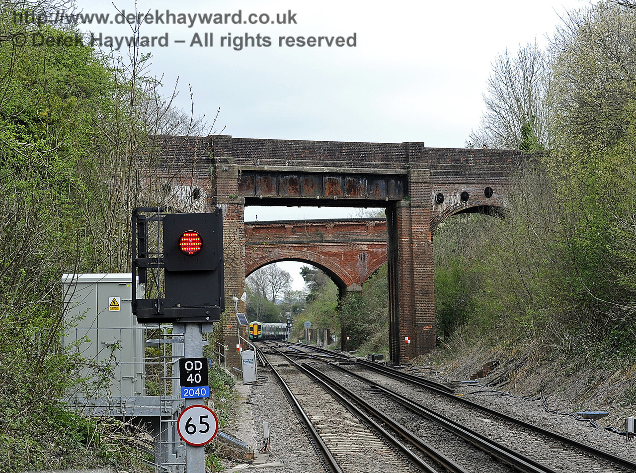 Looking north from Platform 1.  East Grinstead Station, Network Rail.  05.04.2014  8847