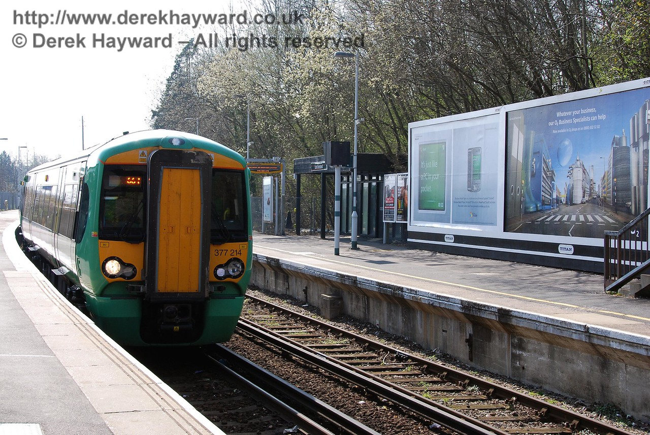 From 2007, an earlier south facing view of the station.  377214 awaits departure north towards London.  02.04.2007