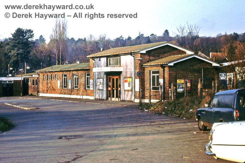 *** GALLERY UNDER RECONSTRUCTION - IMAGES ARE OUT OF ORDER AND DO NOT HAVE THE CORRECT CAPTIONS.   Hurst Green station building, together with the forecourt on the western side, pictured on 14.02.1981.  Litter covers the grass bank and the station chimney is smoking gently.