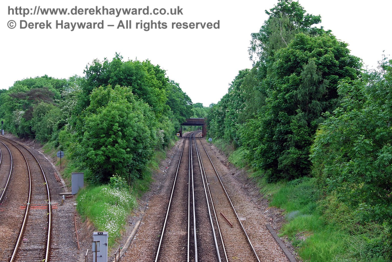 Looking south down the East Grinstead line towards the next road bridge. 18.05.2008