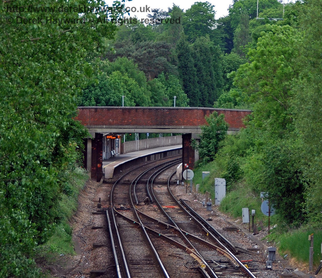 Looking north from an alternative angle, the site of the southbound platform of the demolished Halt is very difficult to distinguish. 18.05.2008