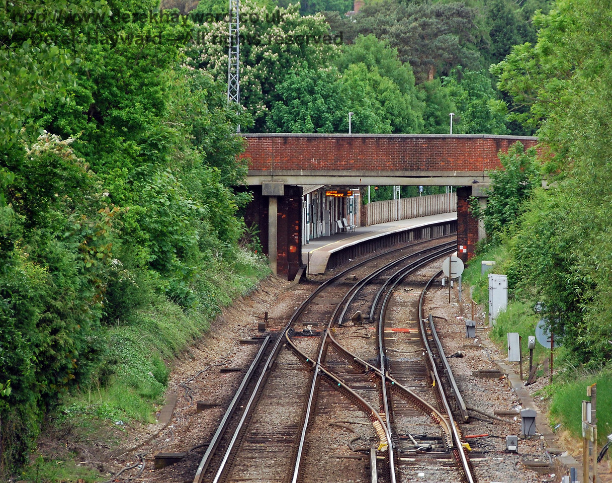 Looking north at the crossover and the site of the former Hurst Green Halt.  The former access points where stairs led down to the halt from the bridge would have been within the trees on either side of the line. 18.05.2008