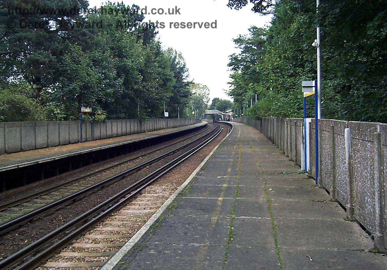 The same view in 1998 catches the station in Connex blue and yellow. Contrast the standards of care with the previous picture. Ten years ago grass was growing on the platform and the whole area looks dirty.  At least it is now kept tidy even if the concrete is unsightly. 09.10.1998