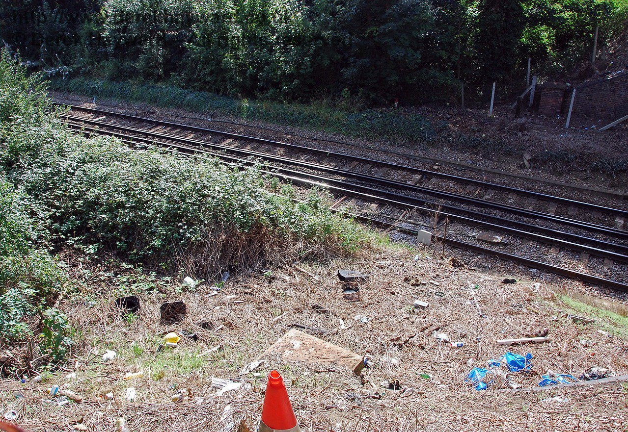 Looking down from the footpath in the previous picture, this rubbish strewn area was the site of the former stairs to the Halt. Someone has thoughtfully thrown a cone over the fence to mark the spot.... 14.09.2008