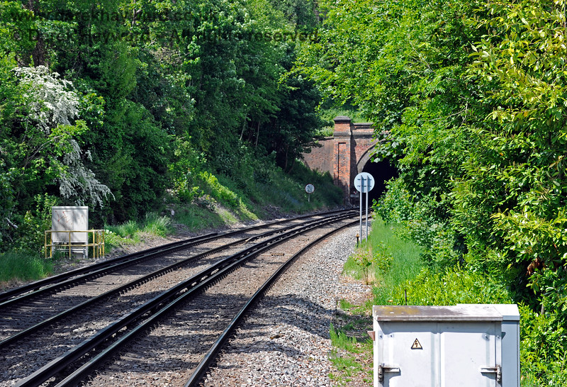 The view north from the southbound platform at Hurst Green Station, towards Limpsfield tunnel. 31.05.2021 18177