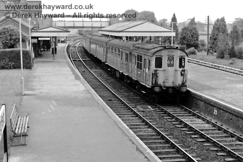 Someone had clearly decided to bolster profits from the on-train catering, as not one but two six-car Buffet units, 1036 and 1033, arrive at Lingfield with the 12:02  Race Special from Victoria on  Saturday 17 May 1969. The lines to the east of the platform were still in situ on the right.  Eric Kemp retains all rights to this image.