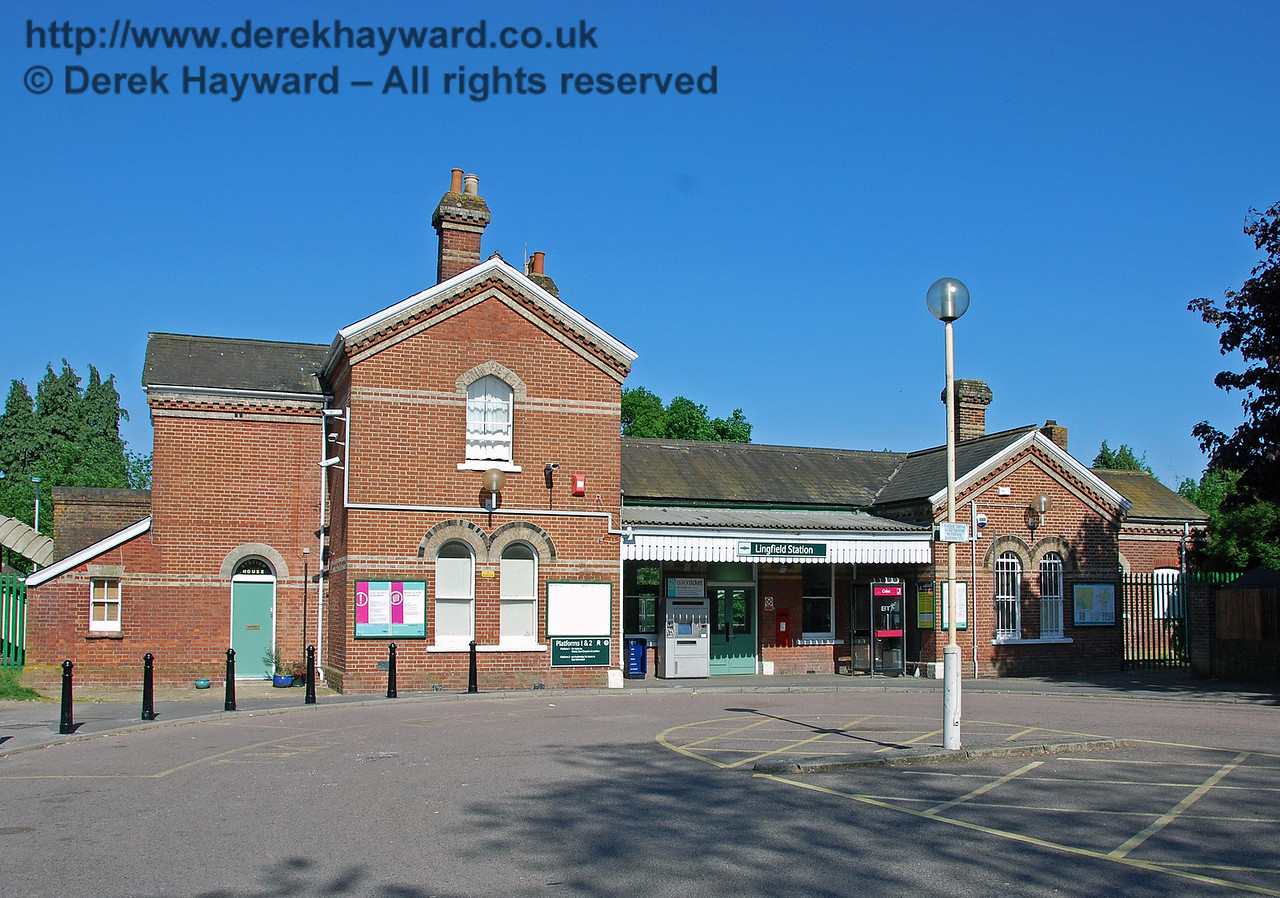 Lingfield Station forecourt, looking east.  The station is of the same basic design as Dormans Station, but a mirror image, with the station house on the left. The station opened in 1884. 11.05.2008