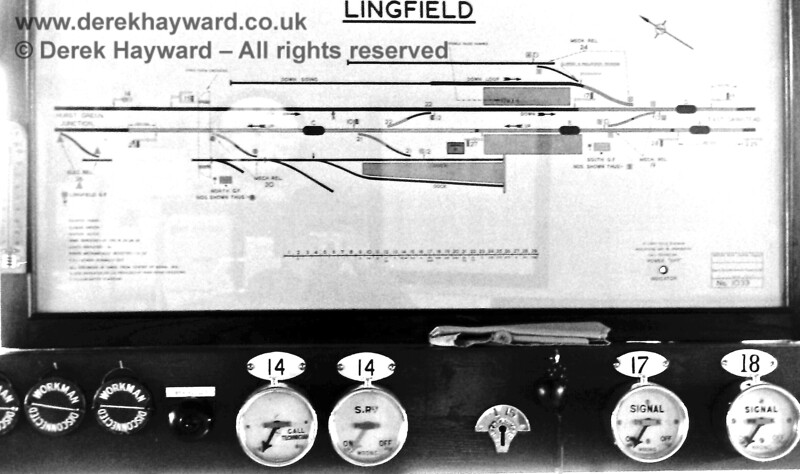 Lingfield Signal Box Diagram pictured in October 1968.  Eric Kemp retains all rights to this image.