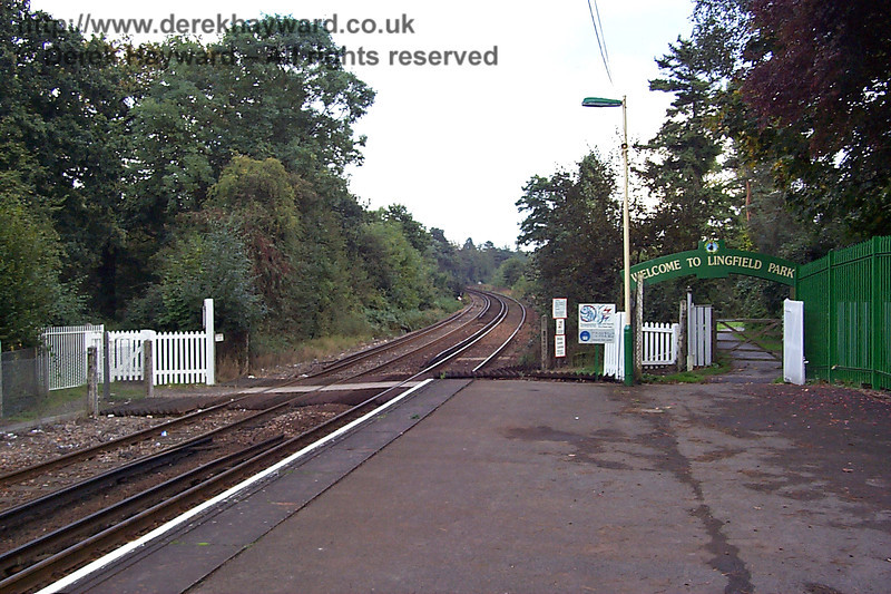 A 1998 shot showing one of the access points to the race course and the authorised foot crossing at the southern end of Lingfield Station. 27.09.1998