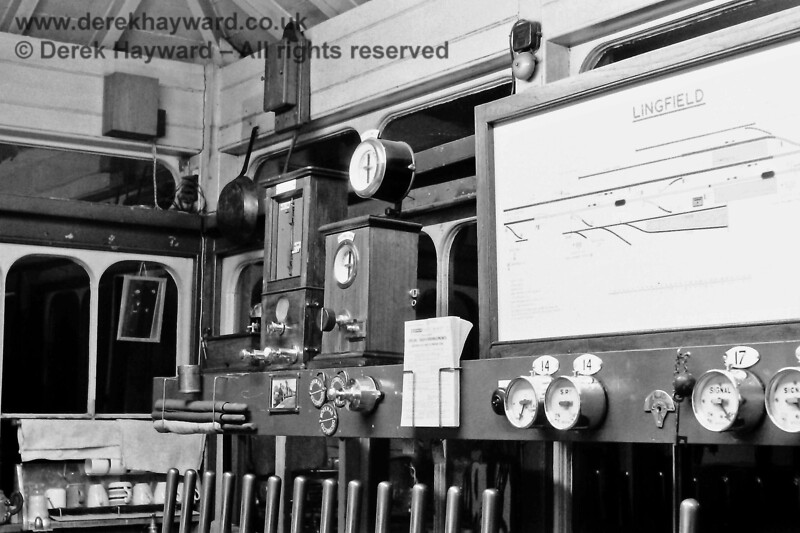 Inside the signal box on 9 March 1970 with the old Harper's block instrument on the left and the new standard 3-position one next to it.  Eric Kemp retains all rights to this image.