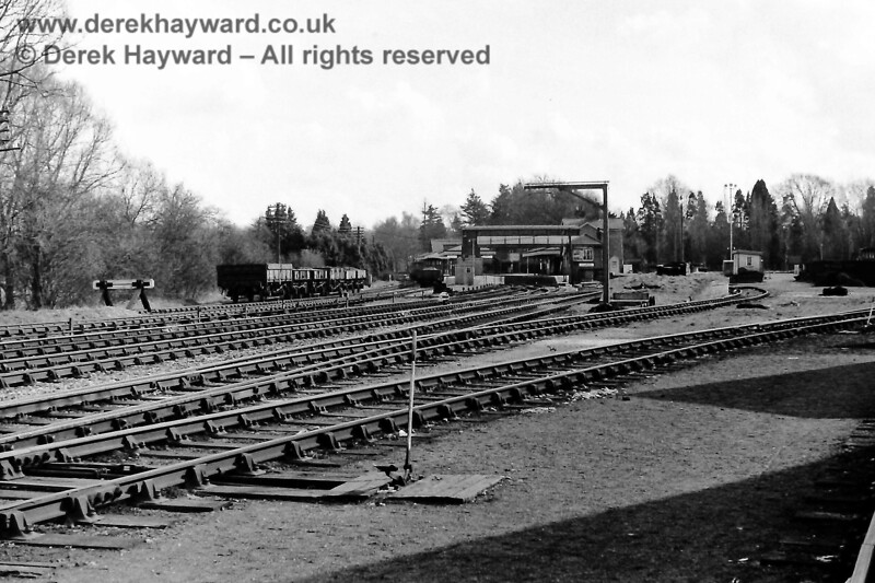 """This excellent view from Eric Kemp looks south across the yard on Sunday 22 March 1970 with engineering department wagons in the down siding. The goods shed was still in place  but had only been used as a store for """"unwanted material"""" for several years.  Eric Kemp retains all rights to this image."""