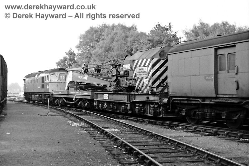 D6559 (recently repainted into blue) and Stewarts Lane crane DS81, in attendance at Lingfield due to a wagon derailment at Crowhurst brick sidings on 24 September 1969.  Eric Kemp retains all rights to this image.