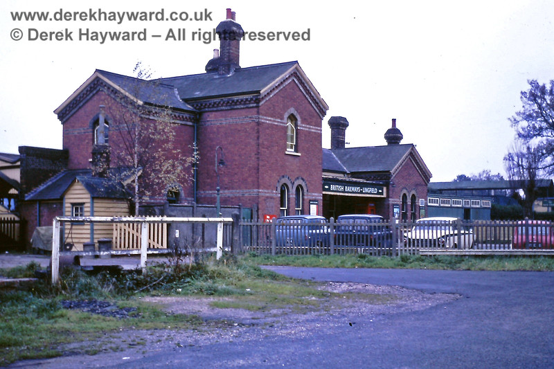Lingfield station building captured by Eric Kemp on 16 November 1968.  The photorgapher was standing at the southern end of the Up sidings, with the goods yard behind the camera.  Eric Kemp retains all rights to this image.