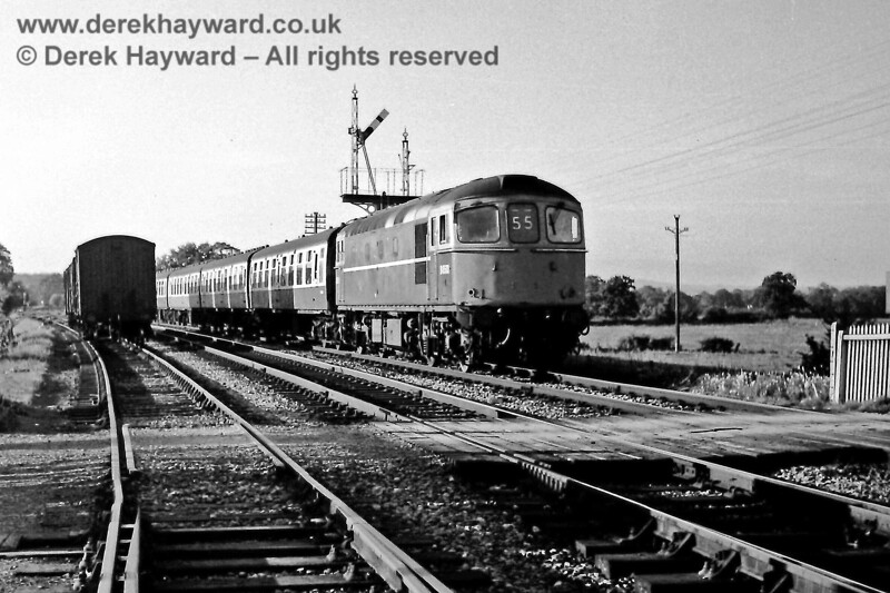A little further north, the low sun catches the 17:34 from London Bridge as it passes under the Lingfield Down Home signal on Wednesday 3 September 1969.  Eric Kemp retains all rights to this image.