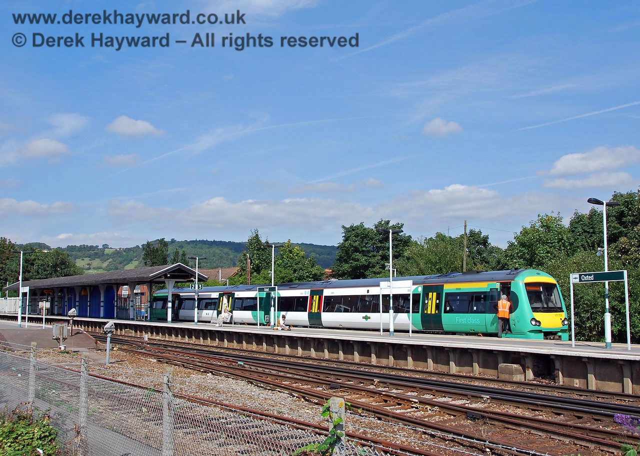 This view from the adjacent car park (formerly the goods yard) shows the southern end of Oxted Station. 14.09.2008