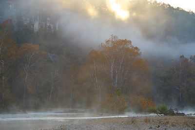 Fall Color Mist on the Jacks Fork