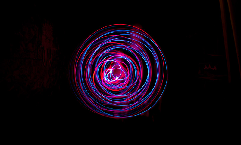 ISO 100<br /> f/ 3.5<br /> Shutter Speed 6 seconds<br /> <br /> On March 21st of 2017 I taught my brother a little bit about  light painting. So, this is more than just a swirl, this is a memory. A memory  of how I made Thai's view of photography a little more fun. He loves Photography almost as much as I do, so this was a nice little moment to share with him.
