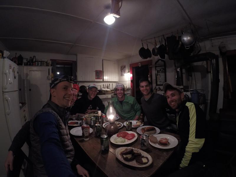First dinner, away from rain