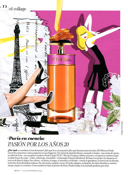 PRADA Candy 2011 Spain (advertorial SModa) 'El collage - Paris in esencis: pasión por los años 20'<br /> <br /> ILLUSTRATOR: François Berthoud, COLLAGE: Minimorgan