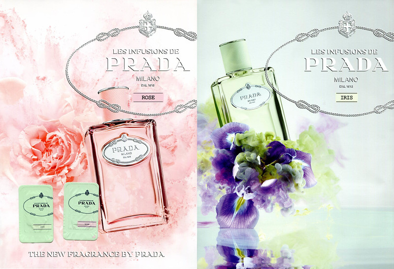 Les Infusions de PRADA (Rose + Iris) 2017 Spain (recto-verso with two scent stickers) bis   'The new fragrance by Prada'