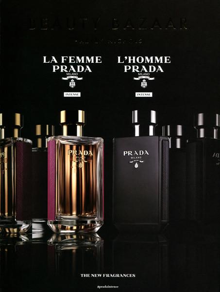 La Femme PRADA - L'Homme PRADA Intense 2017 Hong Kong (Beauty Bazaar Harvey Nichols cover with matte gloss effects) 'The new fragrance'