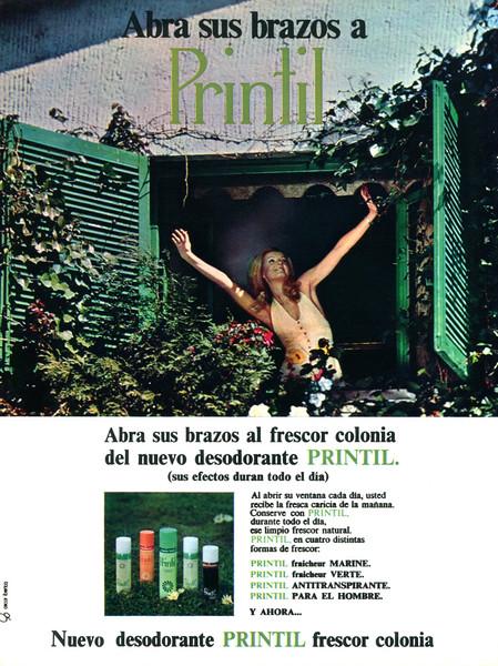 PRINTIL deodorants 1972 Spain 'Abra sus brazos al frescor colonia del nuevo deodorante Printil'