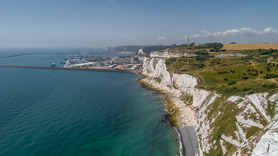 White Cliffs and Dover harbour from above