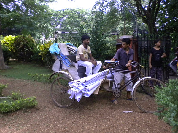 Cycle rickshaws transported everything.