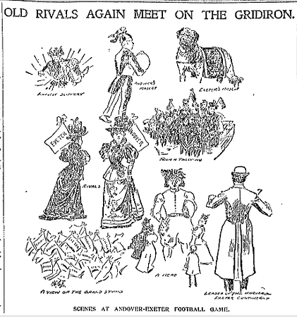 Illustrations from the 1896 game dominated the entire top half of the front page of the Boston Sunday Globe. The re-establishment of the tradition, and reunion of old rivals, had attracted national press coverage.