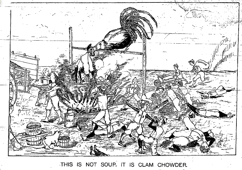 Compared to those from the 1880s, students' depictions of victory in Andover-Exeter matches reflect the growing vitriol between the two schools. Here, an 1891 cartoon by an Andover student, celebrating its football victory over Exeter that year. Photo courtesy of the Phillipian.