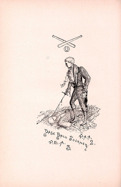 Exeter takes a jab at Andover. A macabre illustration from 1891, drawn by an Exeter student, refers to their 3-2 baseball victory over Andover in 1889. Player defections and rumors of ringers led to a near-riot after the game, and the first suspension of the A-E rivalry, with the 1889 football game's cancellation.