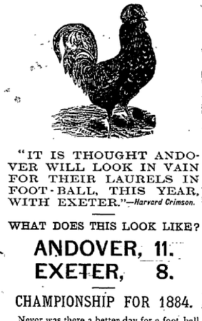 A student illustration from the 1884 Phillipian celebrates Andover's win over Exeter, and pokes fun at Harvard in the process. Photo courtesy of the Phillipian.