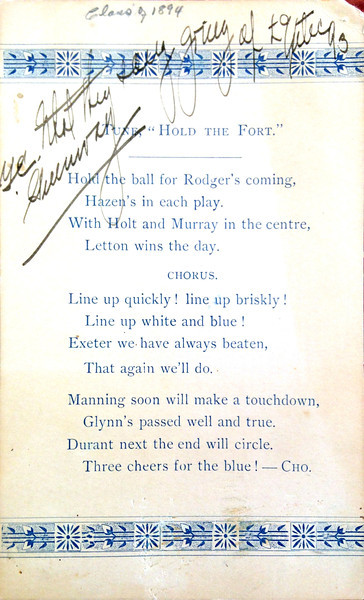 "From Andover's archives: A card featuring the lyrics of Andover's 1893-1894 spirit song, with the chorus: ""Line up quickly! line up briskly! Line up white and blue! Exeter we have always beaten, that again we'll do."" Unfortunately, a victory was not to be that year, and the scandal that ensued caused a breach between the rivals."