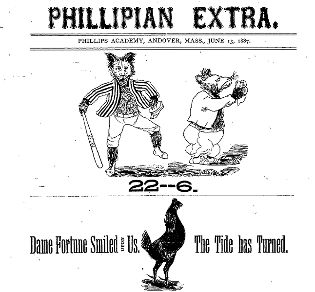 An 1887 Phillipian features another illustration to celebrate Andover's victory over Exeter. Soon, depictions of victory by students from both sides take on a darker tone. Photo courtesy of the Phillipian.
