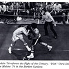 """David Croasdale '74 referees the """"Fight of the Century"""" between """"Irish"""" Chris Doherty '74 and """"Smokin'"""" Joe Malone '74 in the Borden Gym. The fight and all the hype that surrounded it was born out of Stephen Marx's 1974 film course. (Photo from 1974 Andover Bulletin)"""