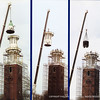 The Memorial Bell Tower rennovation project began in the Spring of 2005 and was completed in the Summer of 2006. This photo shows the beginning of the dismantling process. (Photo from the Spring 2005 Andover Bulletin)
