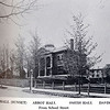 Built in 1829, Abbot Hall was orginally erected facing School Street. In 1888 it was moved to its present site, where it became one of three buildings positioned around the Abbot Circle lawn. Fifteen years later, Abbot Hall was remodeled into a science building. In 1905, it was rebuilt to contain a chapel, an observatory, an art gallery, a larger assembly hall and the science laboratories. Abbot Hall is Neo-Classical in style, highlighted by a 2-story center pavilion with Ionic columns. (Photo from 1960 Pot Pourri)