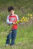 "February 28, 2010<br /> This little boy was collecting flowers.  What I thought was so cute was his T-shirt says ""Tough Guy"", yet he is collecting flowers on the hillside and having the time of his life."