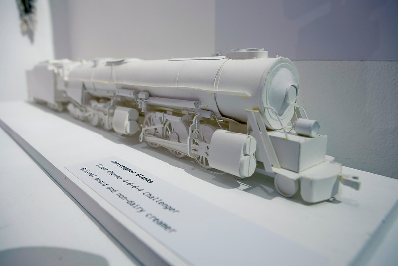 Inmate Artist Christopher Blanks' Paper Steam Engine at the Annual Show 2013.